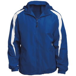 Sport-Tek Mens Fleece Lined Colorblocked Hooded Jacket
