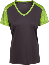 Sport-Tek Ladies' CamoHex Colorblock T-Shirt